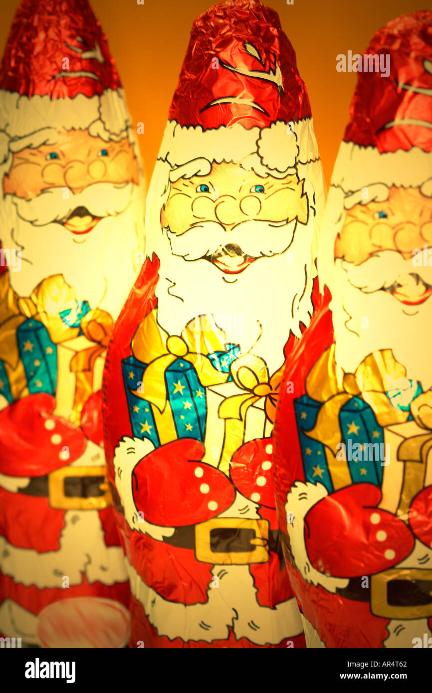 Chocolate Santa Claus figures Stock Photo
