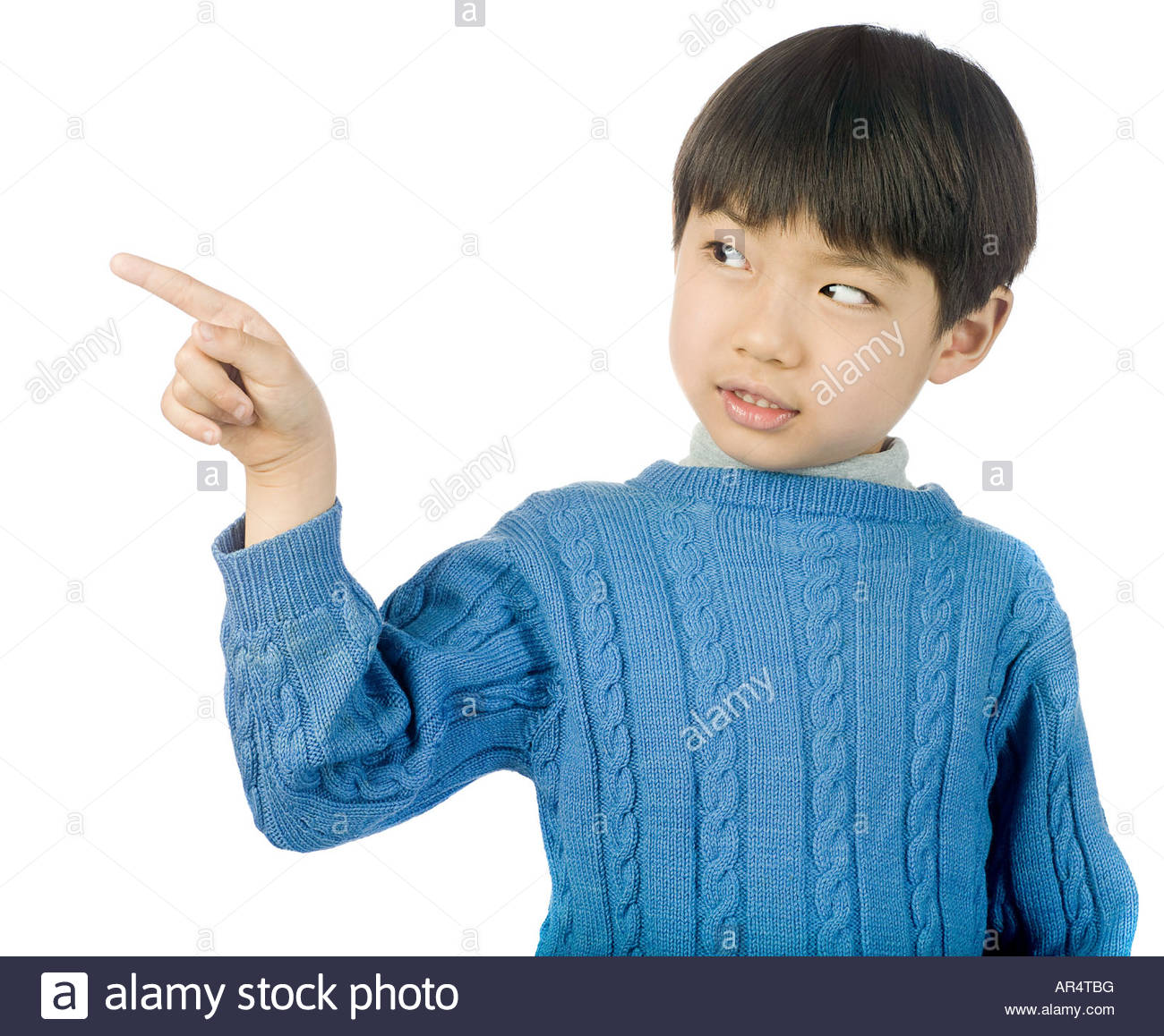 Boy pointing - Stock Image