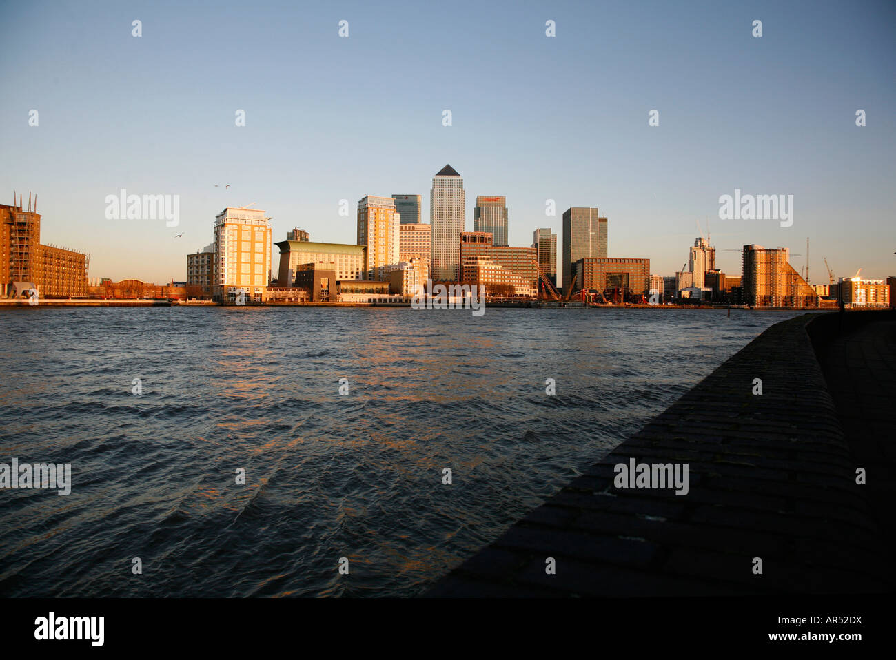 View across the River Thames in London to Canary Wharf Taken from Rotherhithe - Stock Image