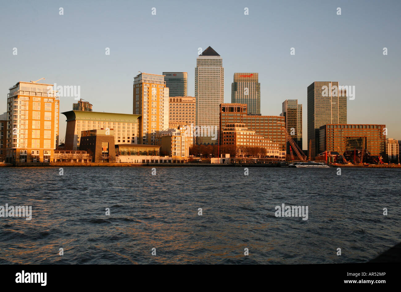 View across the River Thames in London to Canary Wharf. Taken from Rotherhithe - Stock Image