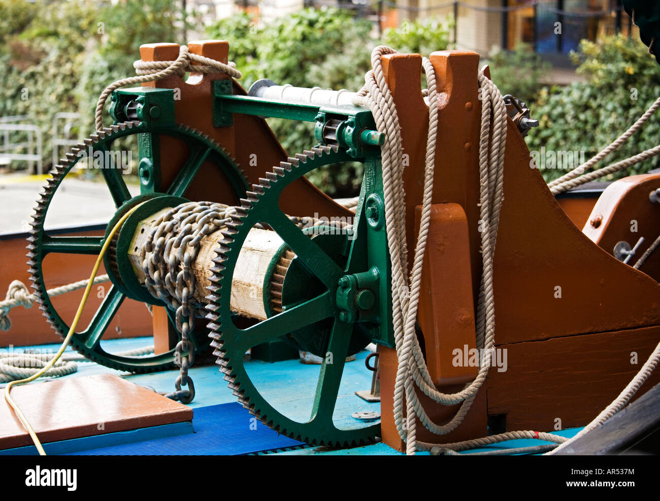 Detail of ropes and winch at London,UK - Stock Image