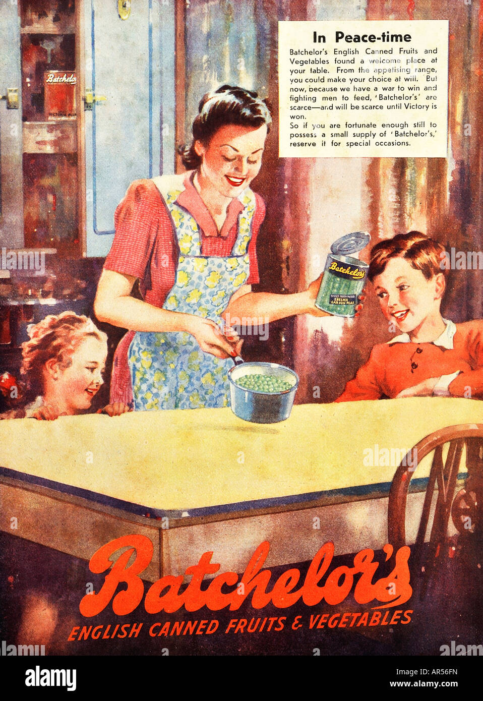 1940s vintage 1944 wartime advertisement for Batchelor's canned friut and vegetables For Editorial Use Only - Stock Image