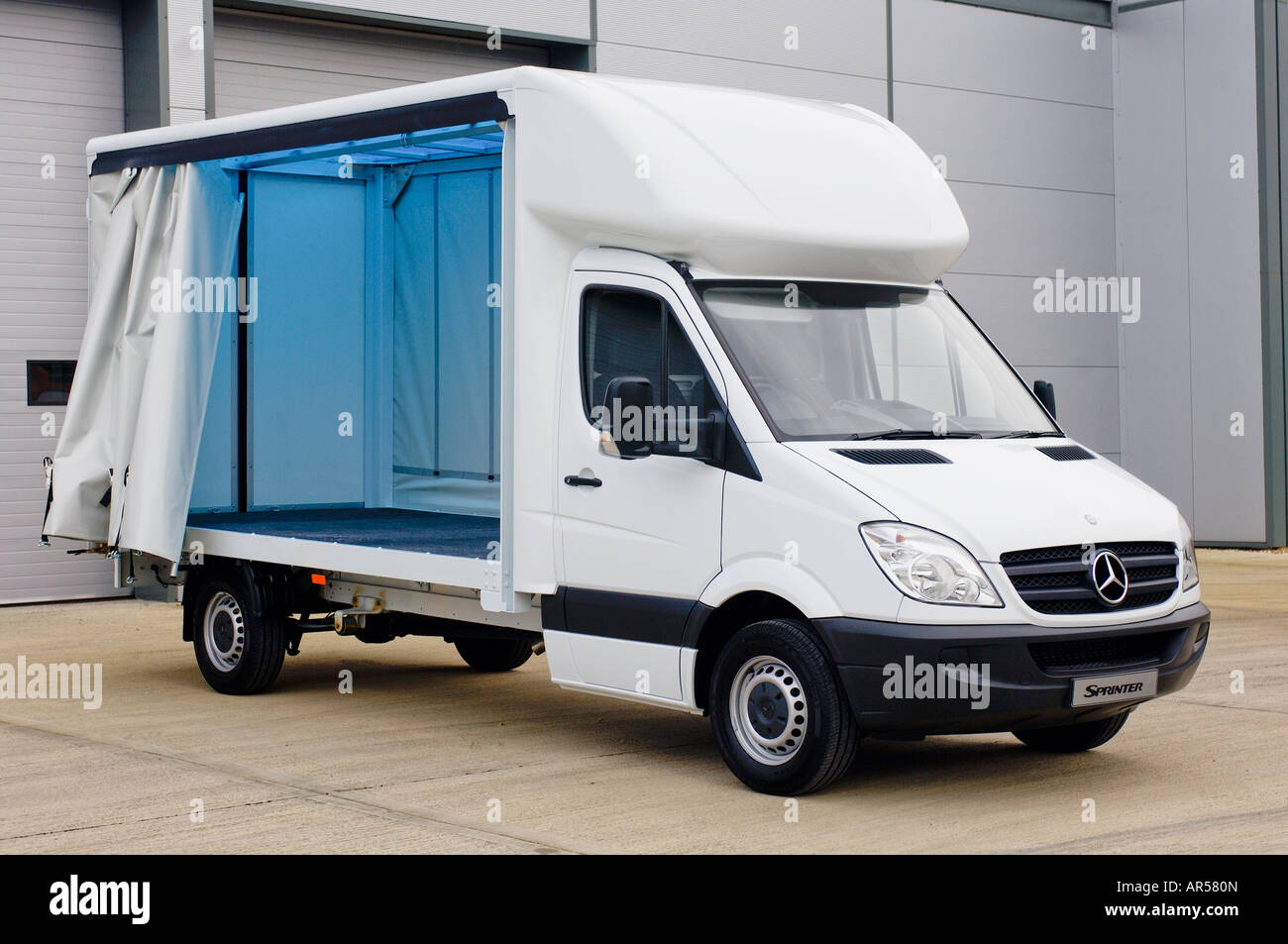 Mercedes Benz Sprinter Luton curtain sided truck left open to show ...