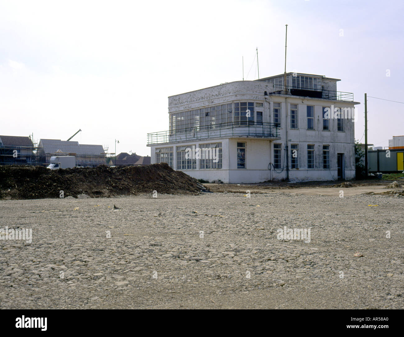 The old Control Tower at West Malling Airfield now Kings Hill Housing development - Stock Image