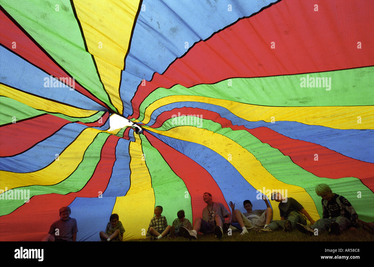 children playing parachute stock photos amp children playing