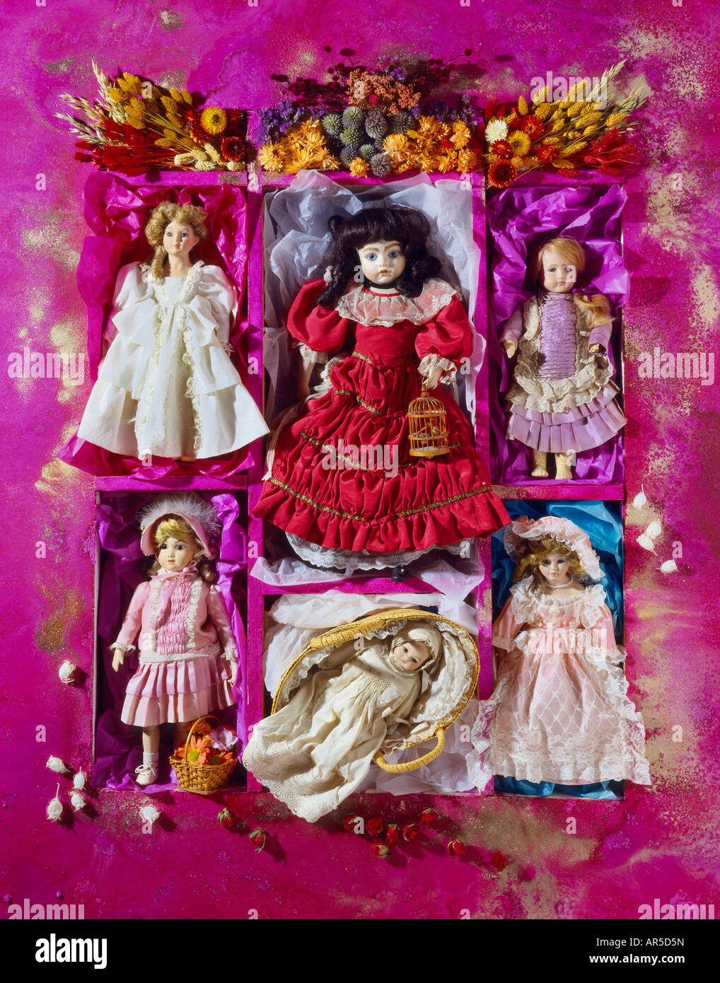 Antique and collectable porcelain dolls. Edwardian and Victorian - Stock Image