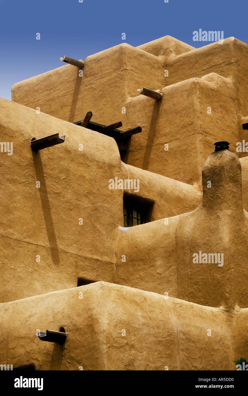 Modern adobe architecture Santa Fe New Mexico USA - Stock Image