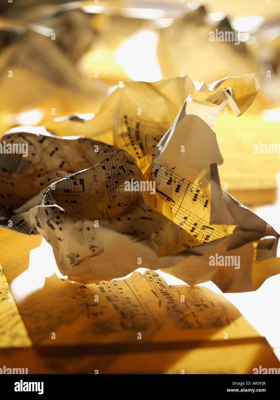 Crumpled sheet music - Stock Image