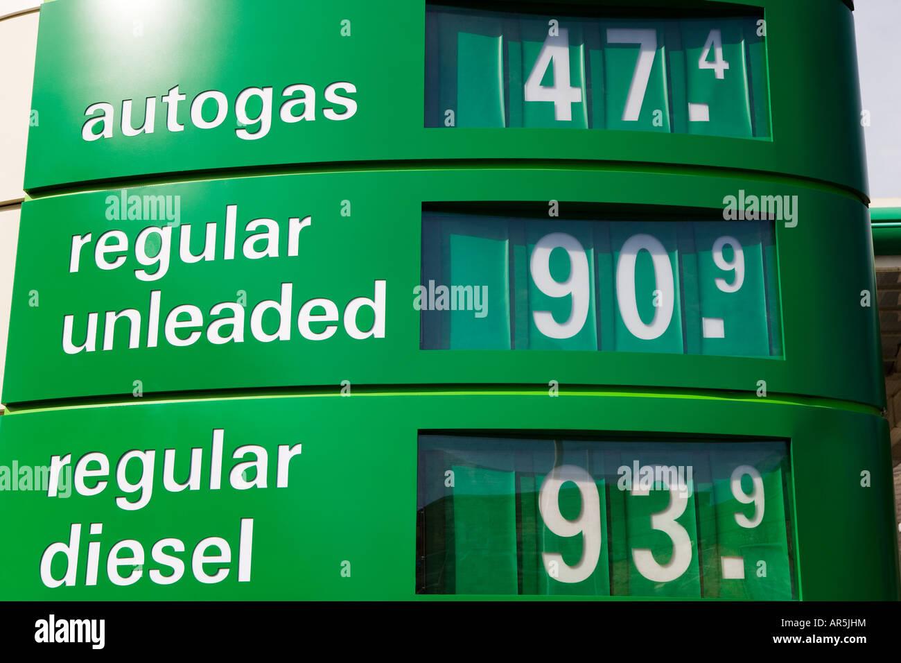 Petrol prices - Stock Image
