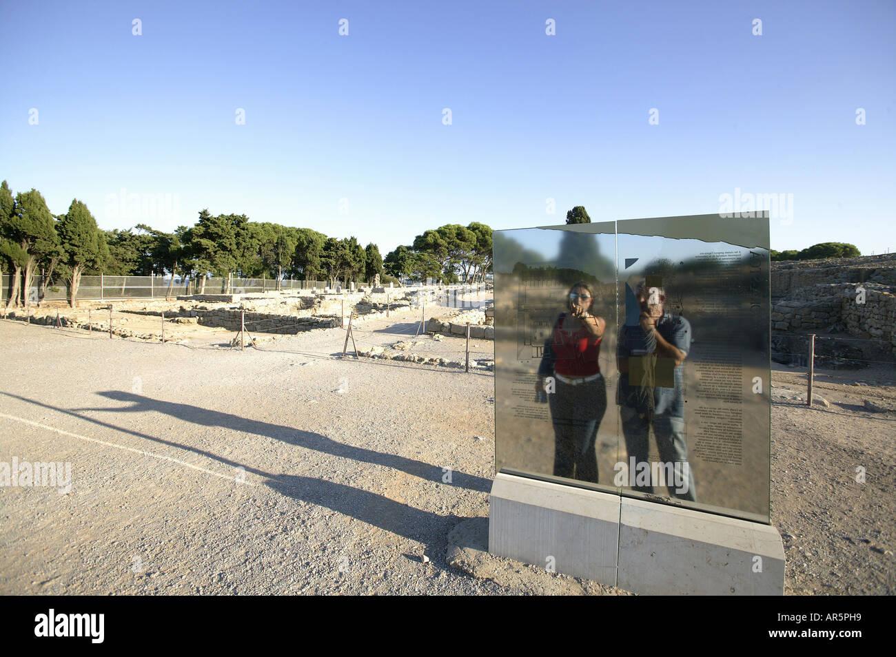 Costa Brava, Information Board, Ancient Greek Settlement of Empuries, Costa Brava, Catalonia Spain - Stock Image