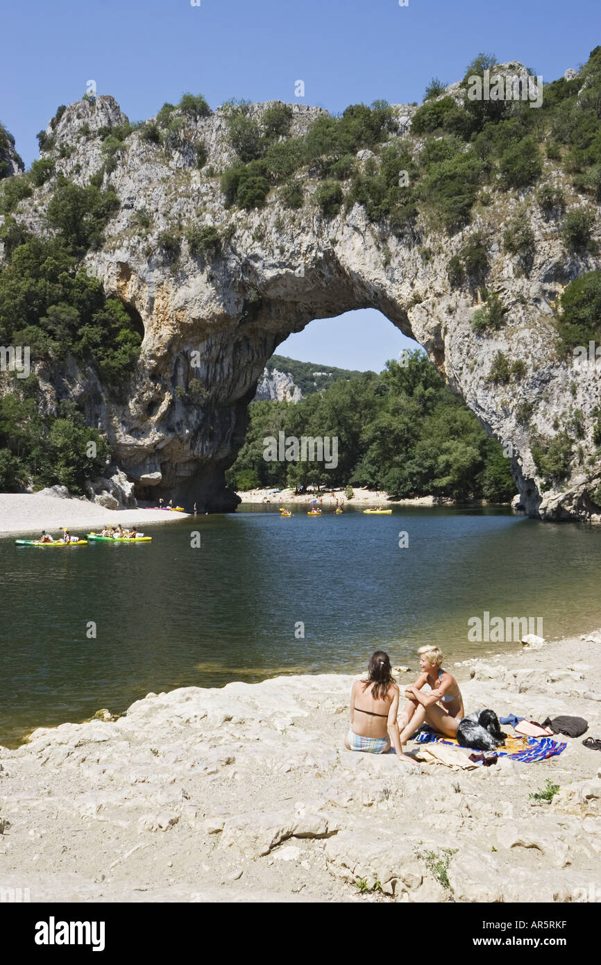 Swimming in Ardeche river at Pont d'Arc, France, Europe - Stock Image