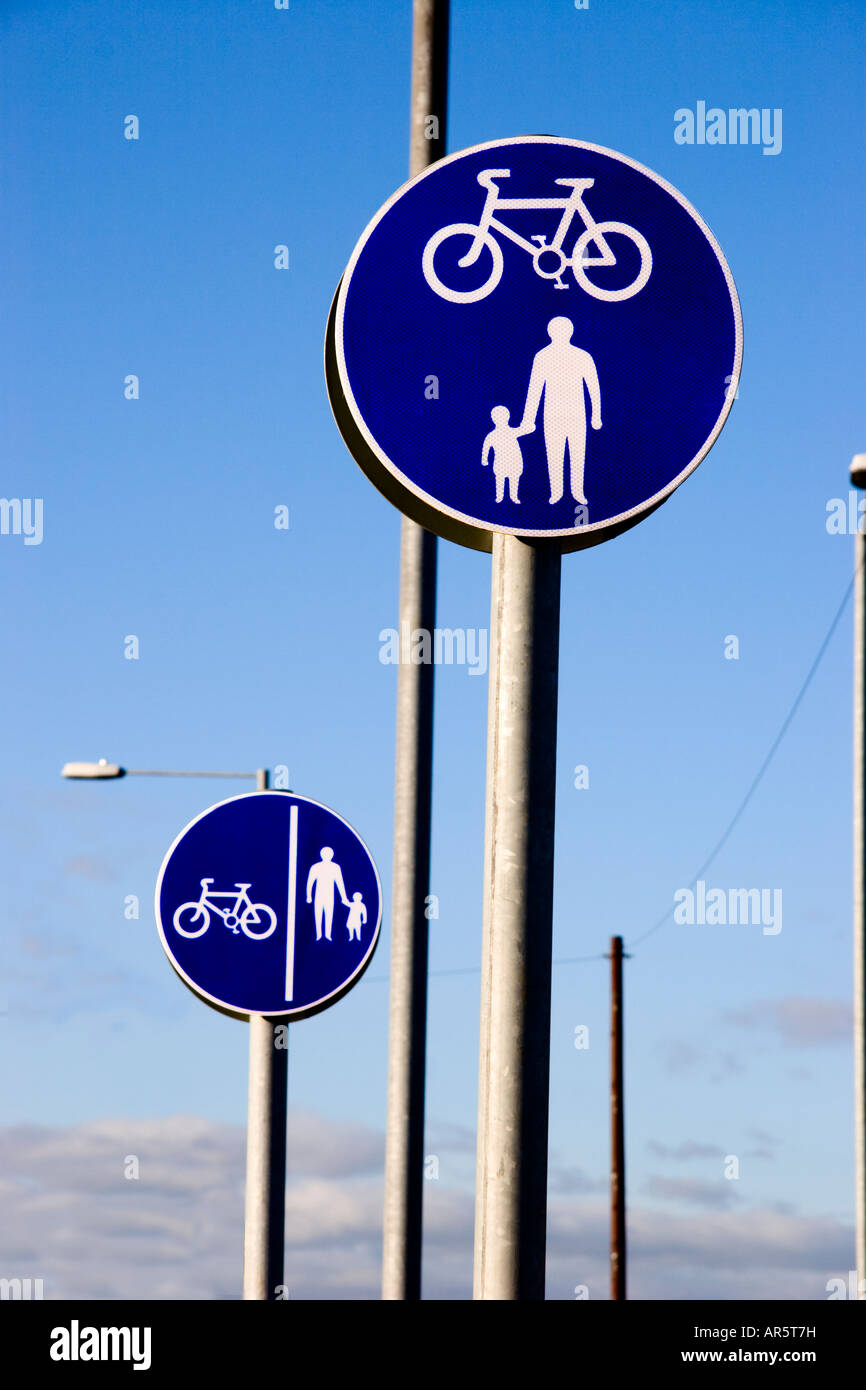 Shared use and segregated cycle and pedestrian route signs, UK - Stock Image