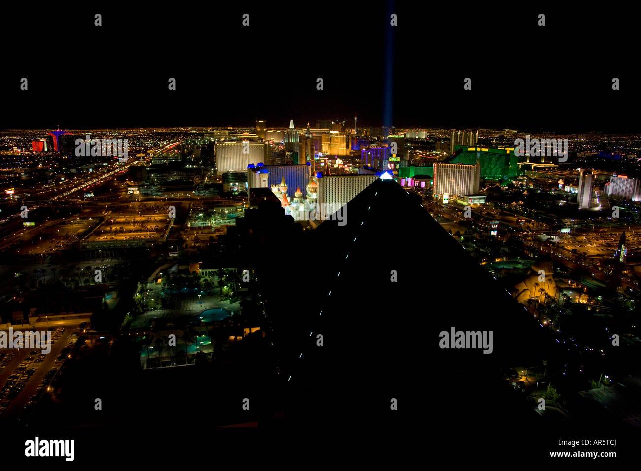 Las Vegas Strip at night Las Vegas Nevada - Stock Image