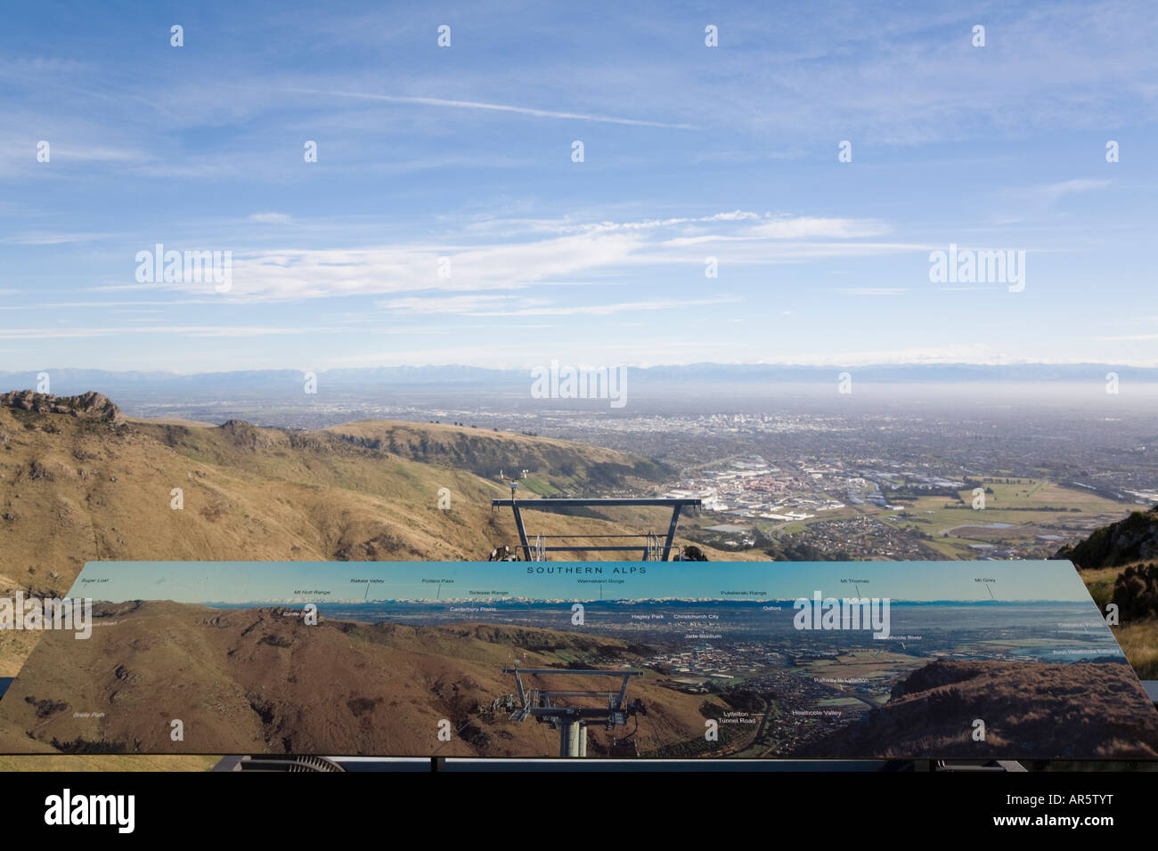 View from Mount Cavendish Gondola viewing deck in 'Port Hills' with pictorial sign Christchurch South Island - Stock Image