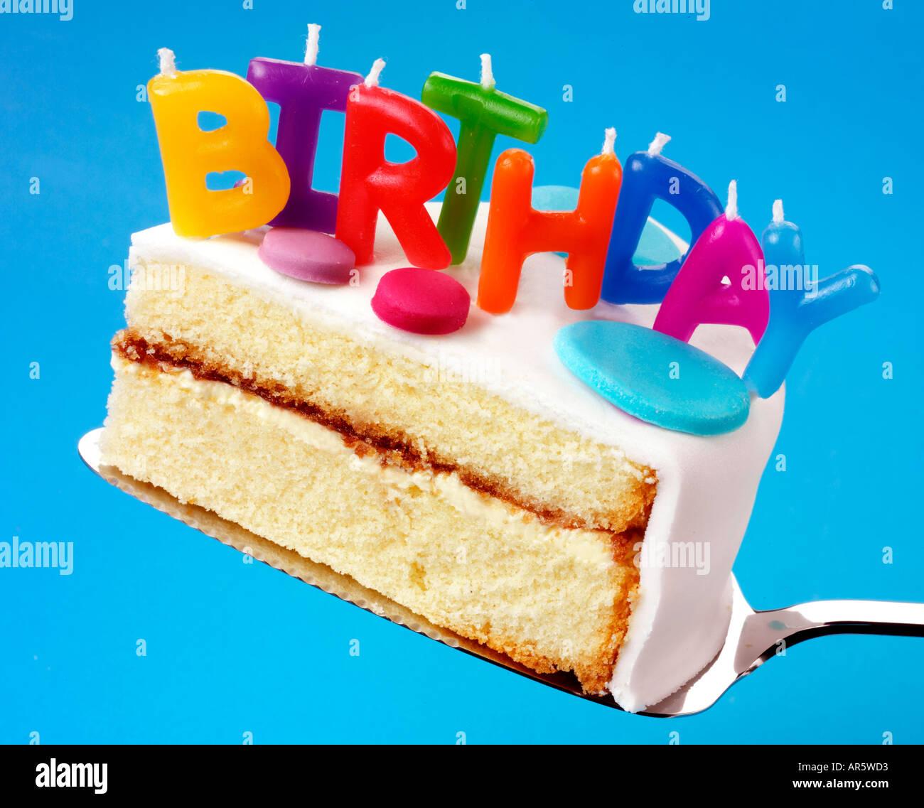 Super Slice Of Birthday Cake Stock Photo 5207506 Alamy Personalised Birthday Cards Paralily Jamesorg