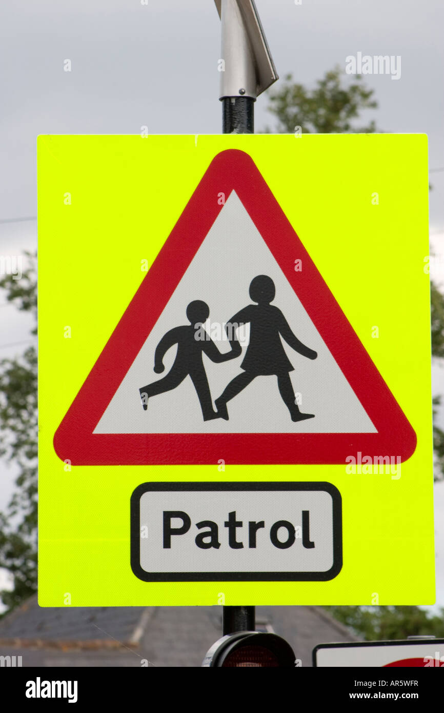 Road Signs For Sale >> School children patrol crossing ahead road sign Stock ...