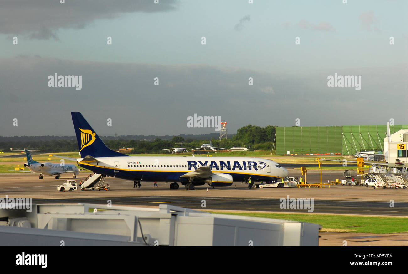 A Ryanair aircraft on the ground at Manchester International Airport Stock Photo