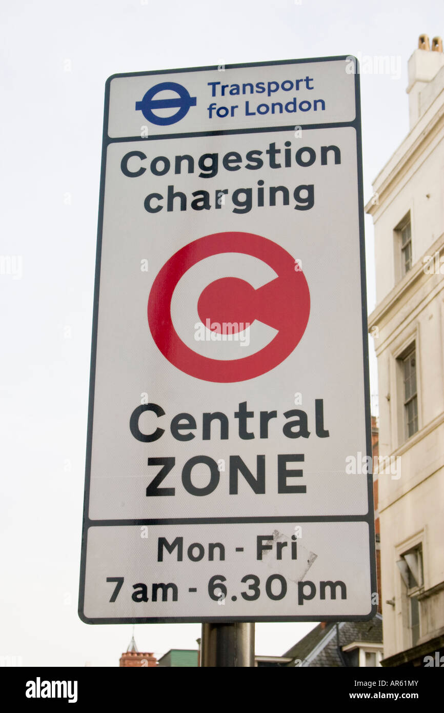 Congestion charging zone road sign central London - Stock Image