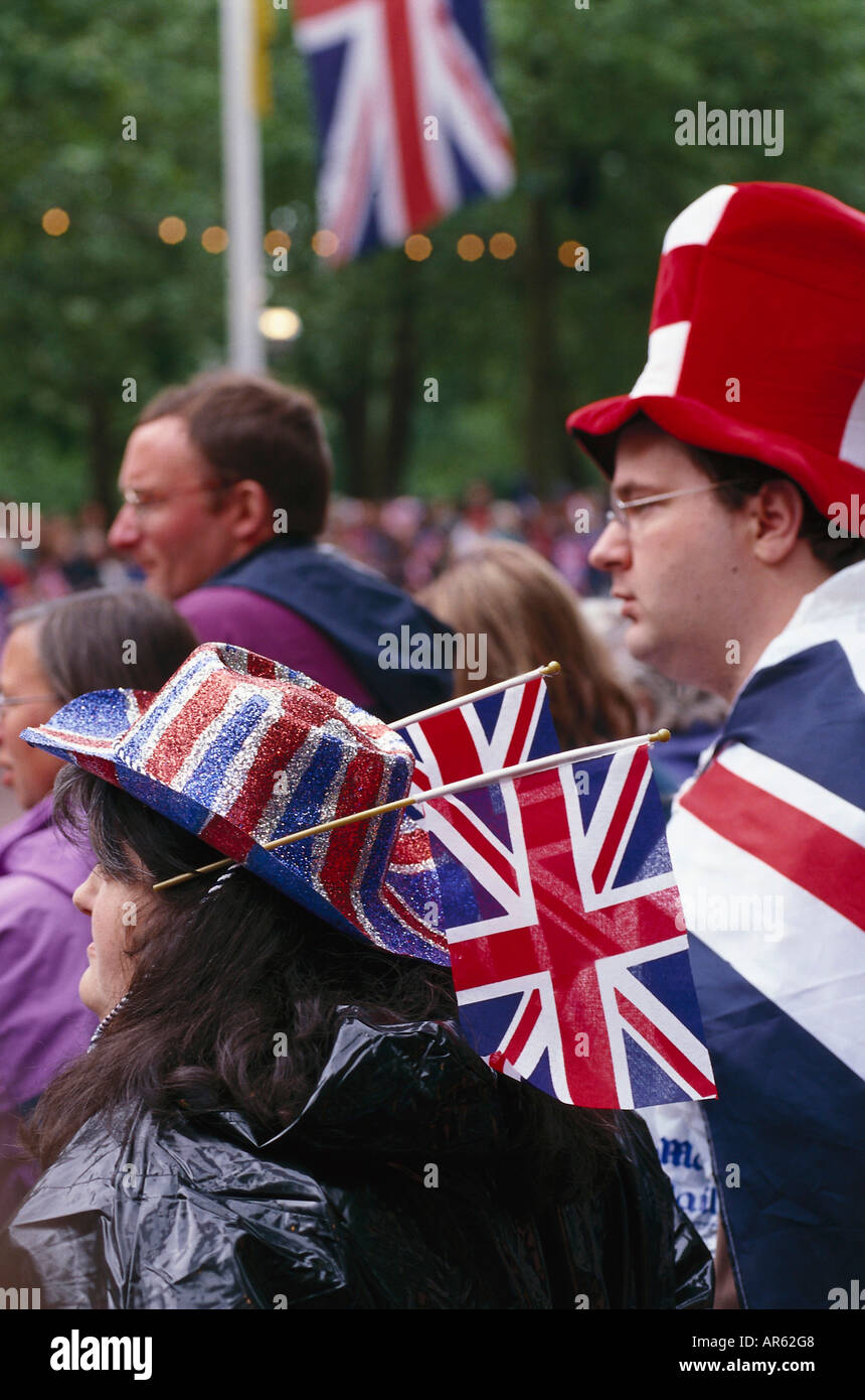 Revellers in the street of London, Queens Golden Jubilee, London, England, Great Britain - Stock Image