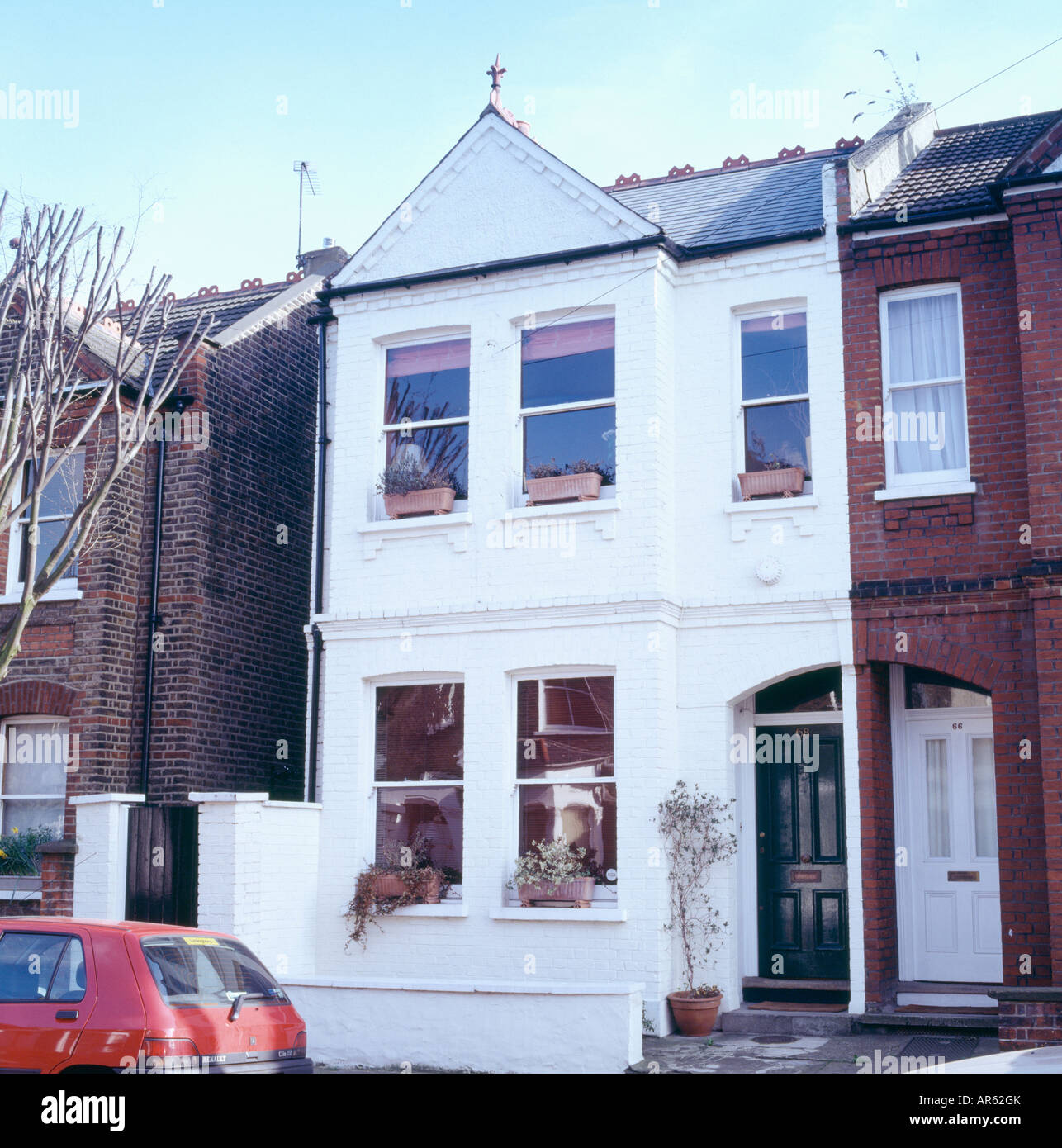 White Semi Detached Edwardian Townhouse Stock Photo 15950562