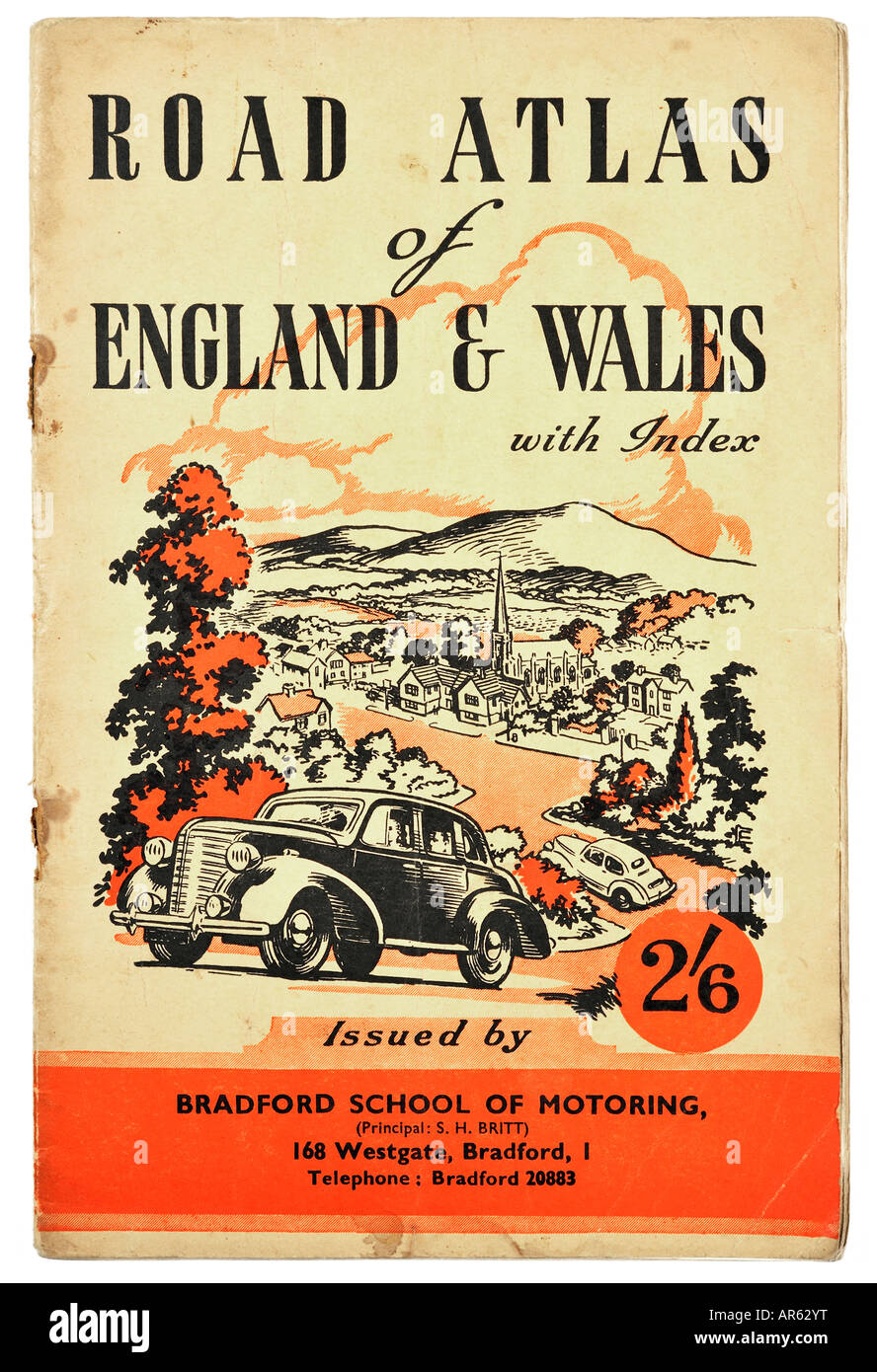 Old vintage 1950s Road Atlas of England & Wales For Editorial Use Only - Stock Image