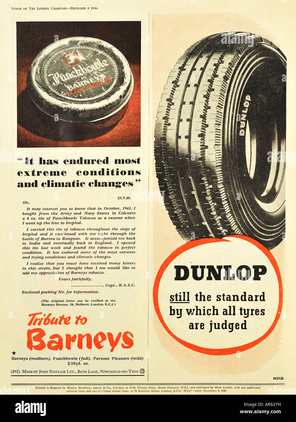 Barney's Tobacco and Dunlop Tyres Advertisements from 1946 For Editorial Use Only - Stock Image
