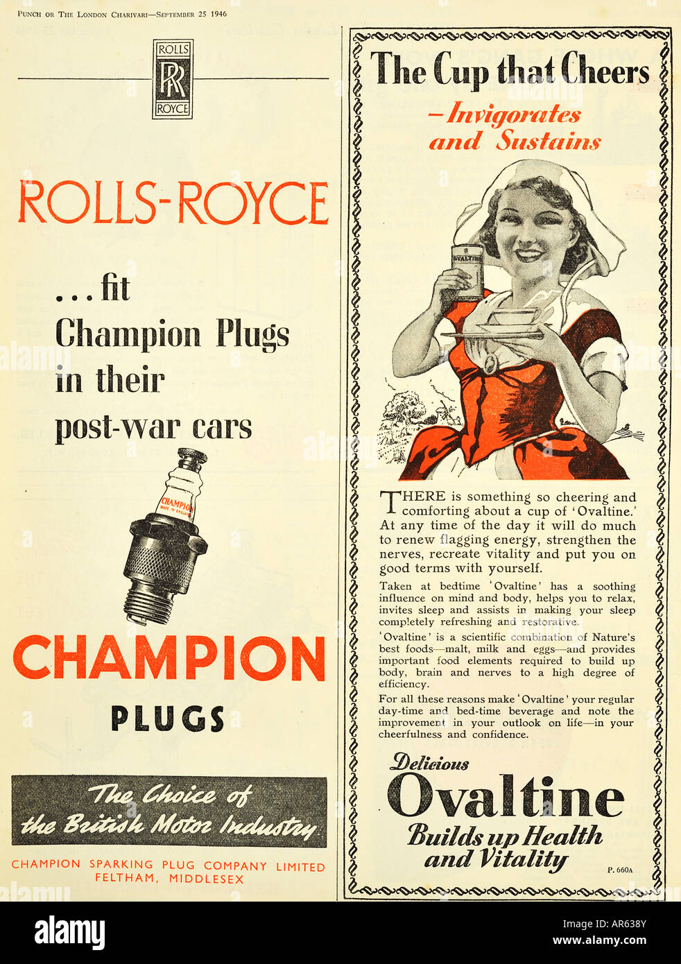 Champion Sparking Plugs and Ovaltine Advertisements from 1946 For Editorial Use Only - Stock Image