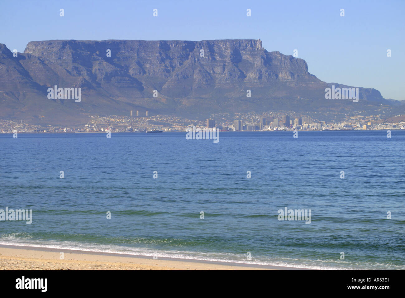 Table Mountain from across thee bay - Stock Image