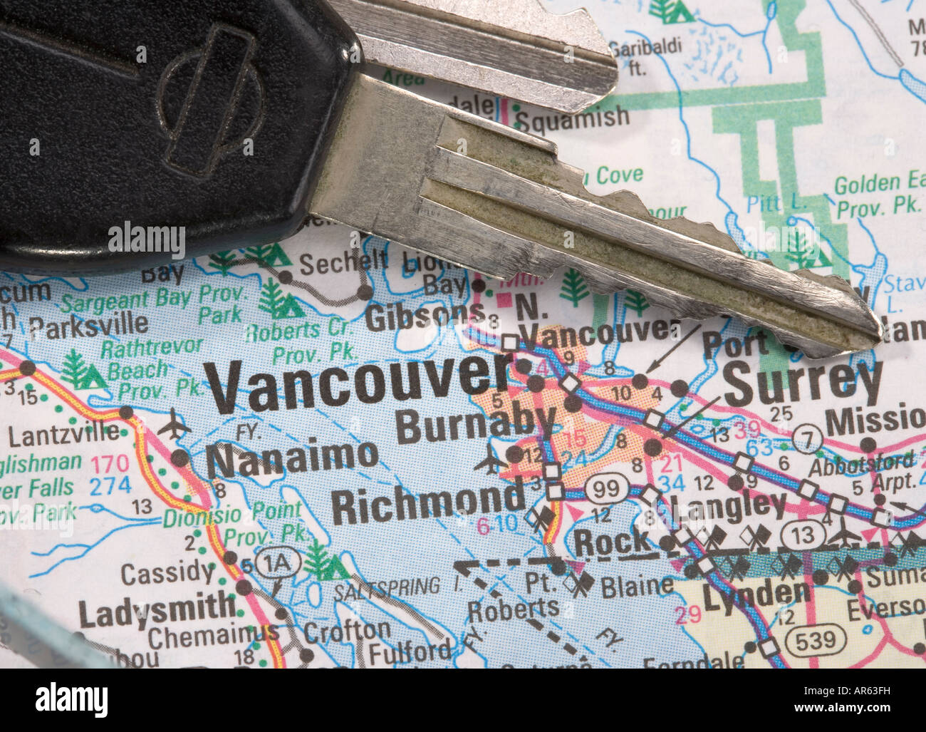Vancouver Bc Canada Map.A Close Up Of A Map Of Vancouver B C Canada With Car Keys Stock