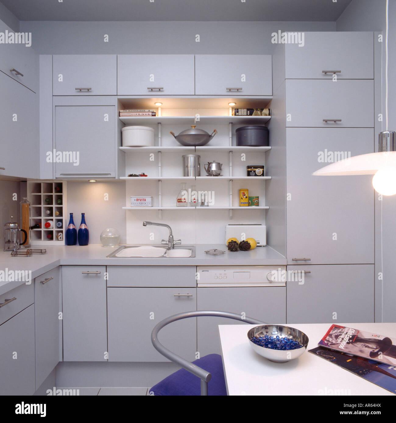 Lighting Above Shelving In Modern Grey Kitchen With Hidden Fridge - Grey kitchen lights