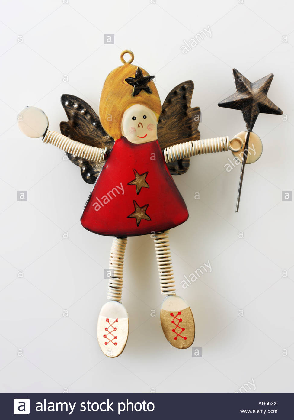 festive  wooden  'christmas angel' - Stock Image