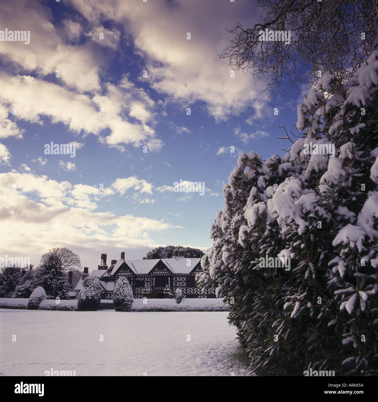 Speke Hall under a thick blanket of snow Liverpool Merseyside - Stock Image