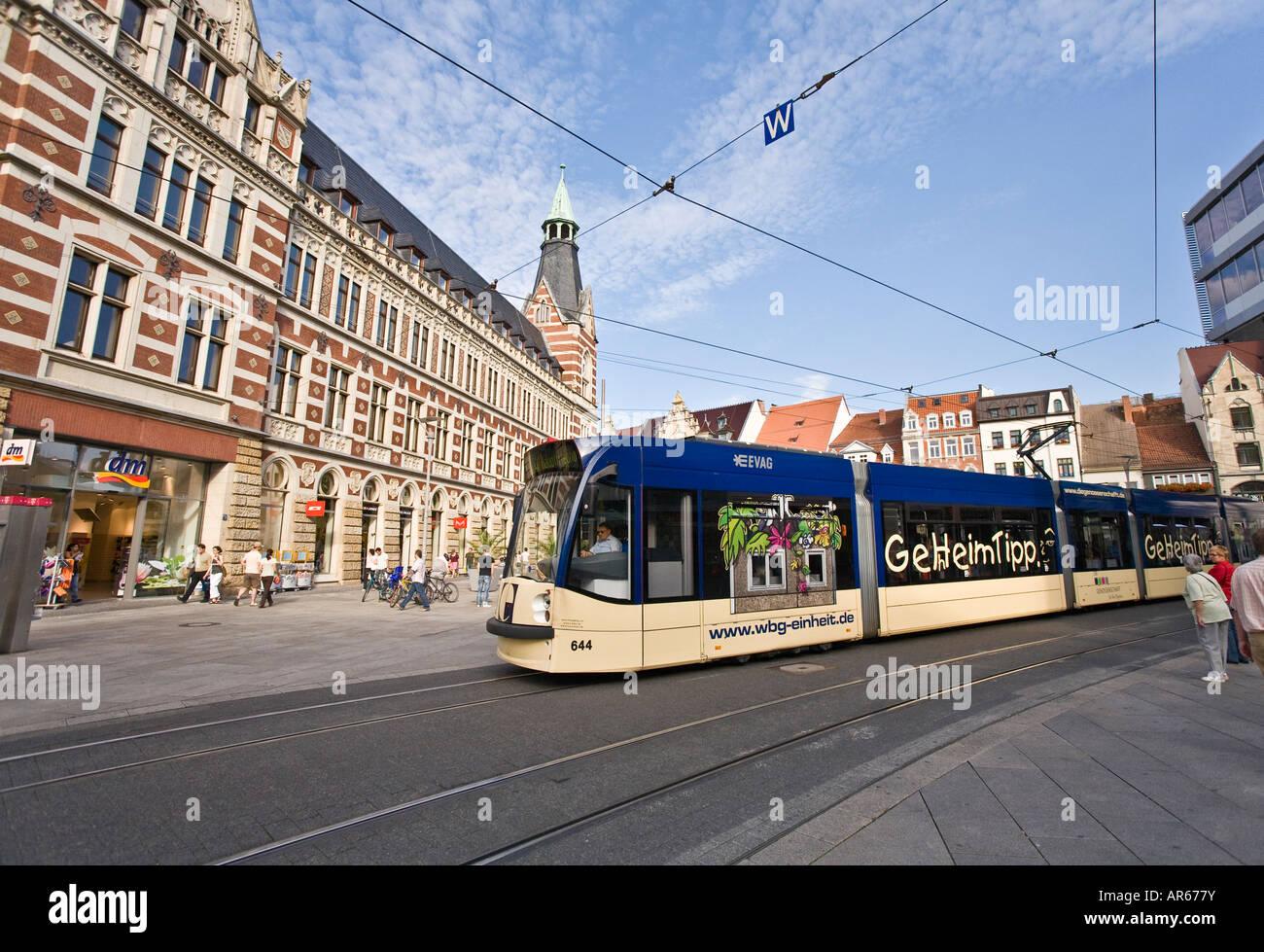 Streetcar downtown Erfurt Germany - Stock Image