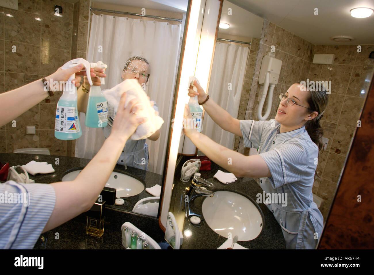 Staff Mirror Room Maid Bathroom Cruise Ship MS Delphin Stock - Bathroom maid