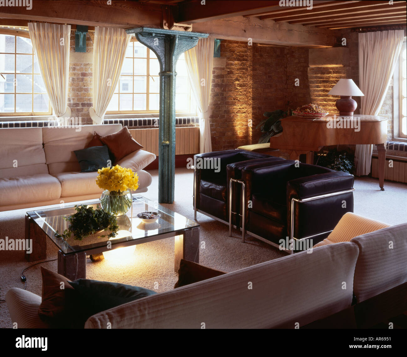 Show Flat, New Concordia Wharf, Docklands. Living area. - Stock Image