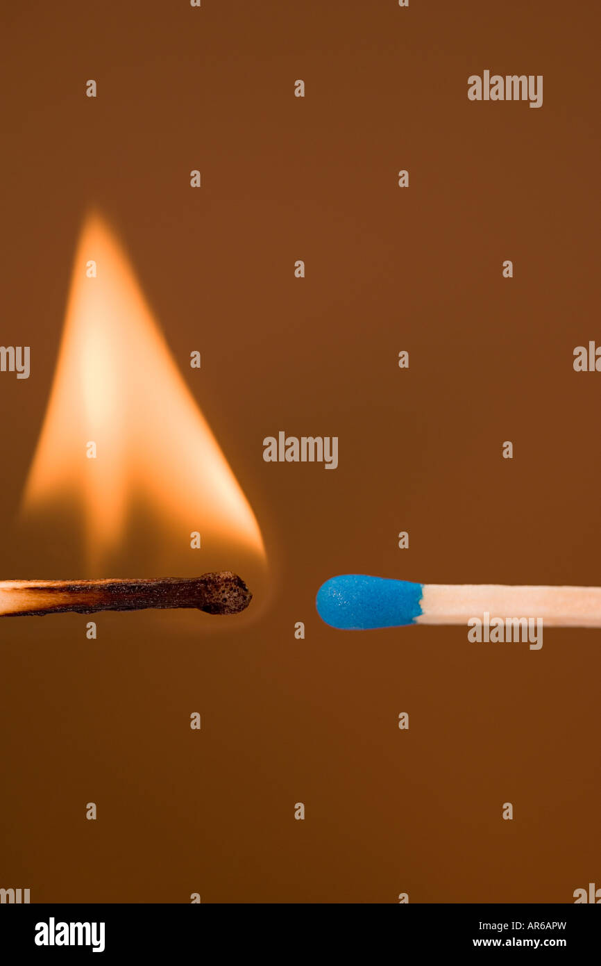 Lit and unlit matches - Stock Image