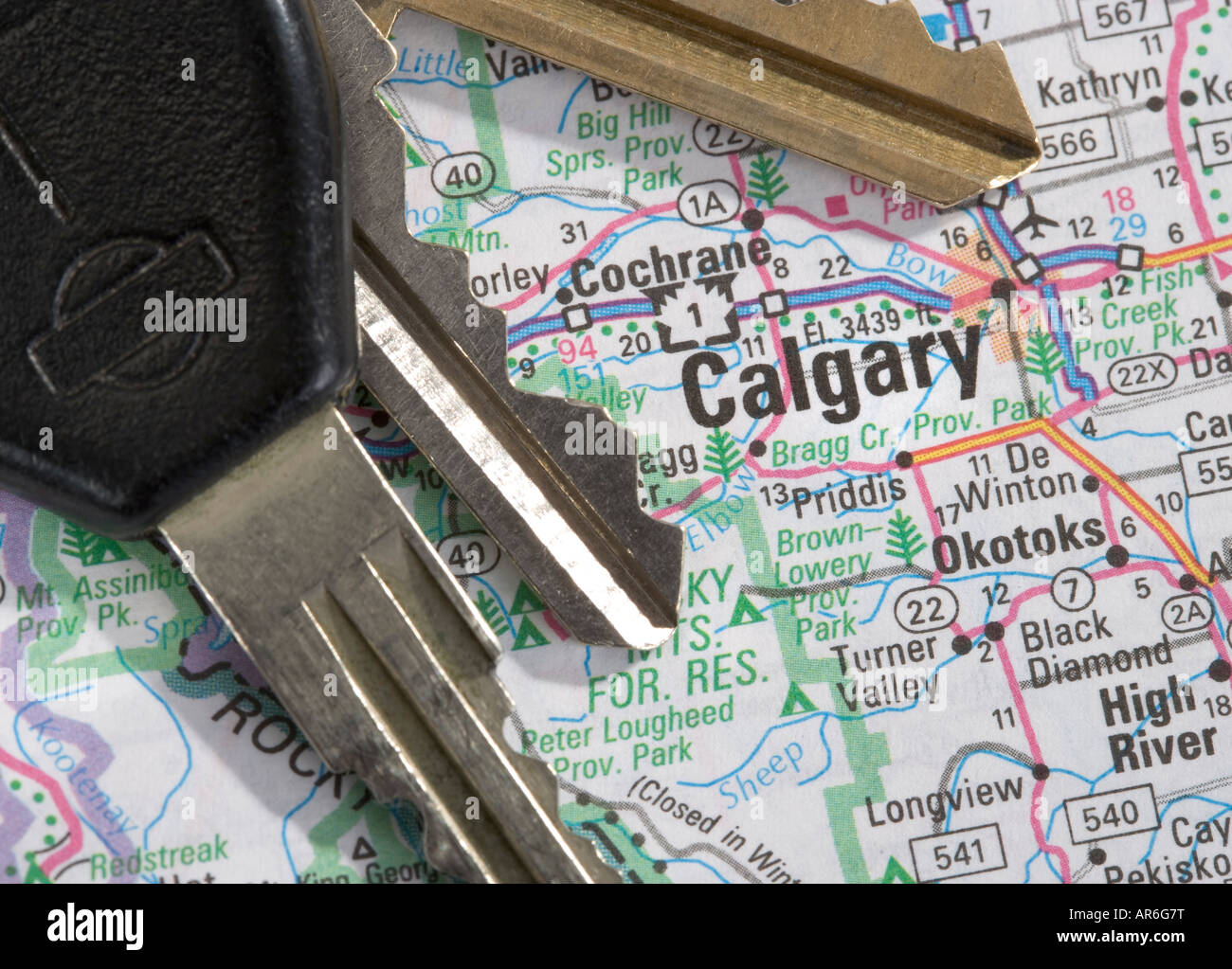 A Close Up Of A Map Of Calgary Alberta Canada With Car Keys Stock