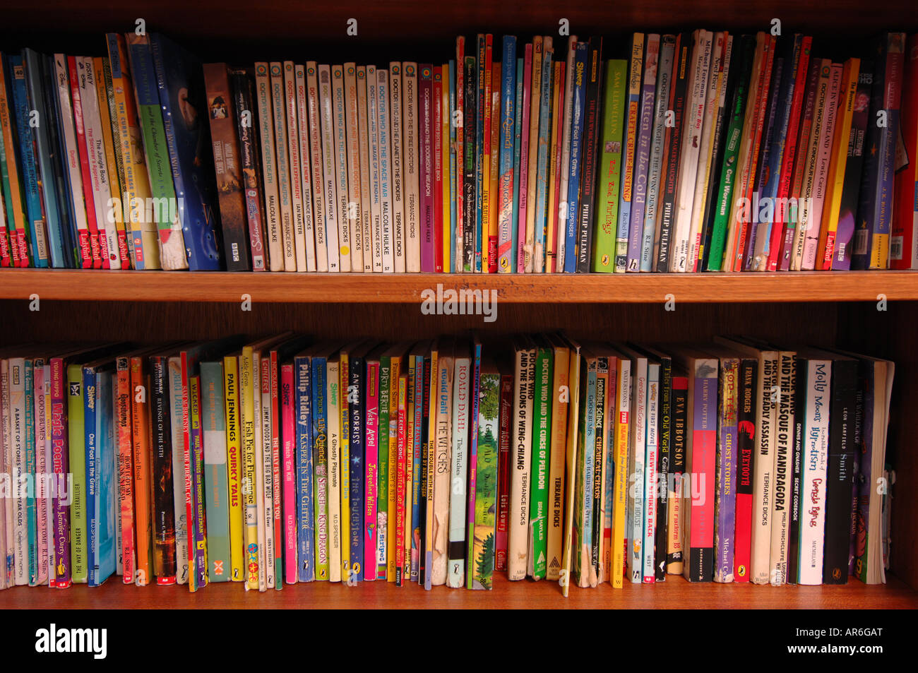 Bookshelf  in school library - Stock Image