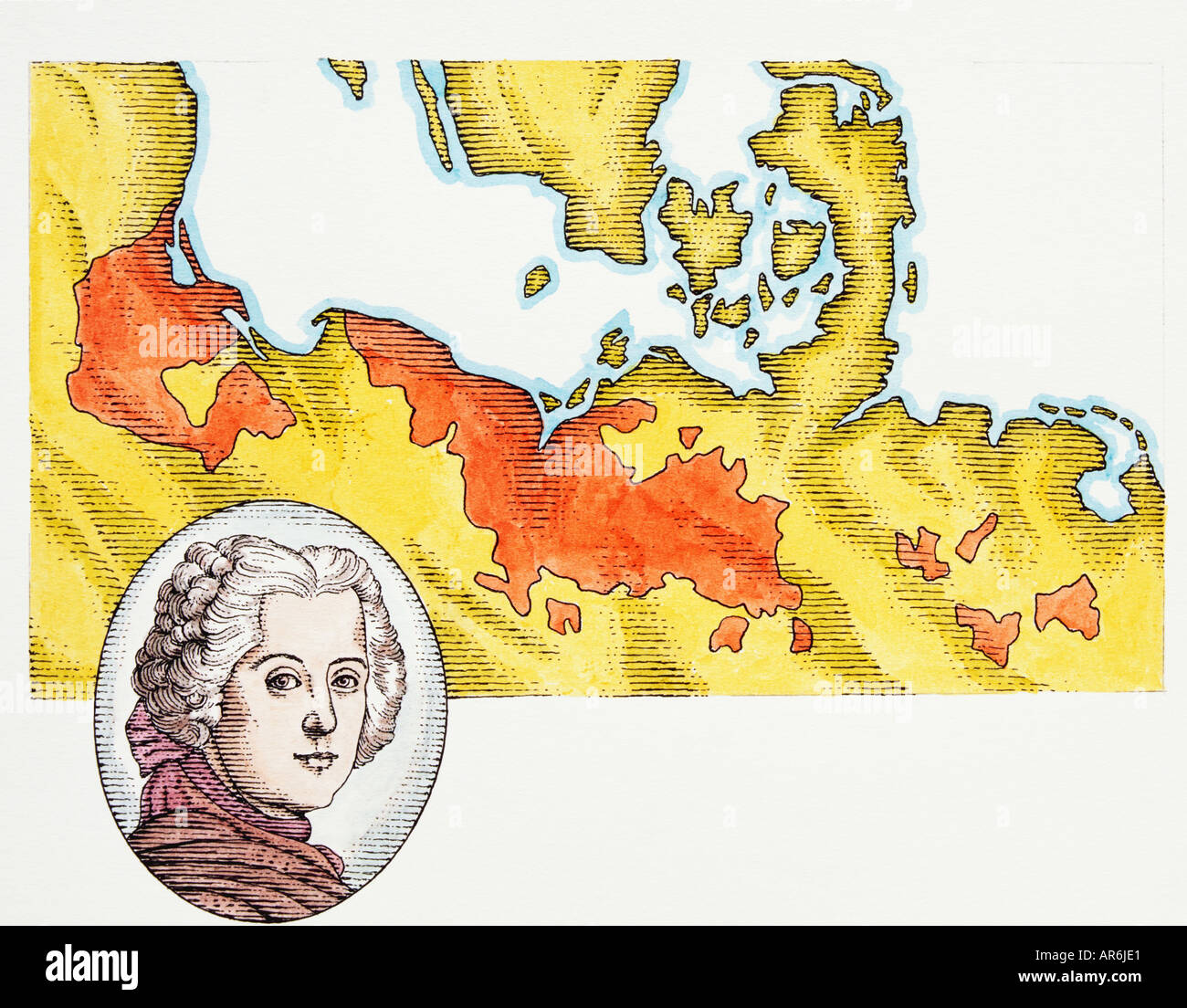 Map of Prussian Territories, highlighted in red, circa 1740, bordered by Baltic and North Sea, - Stock Image