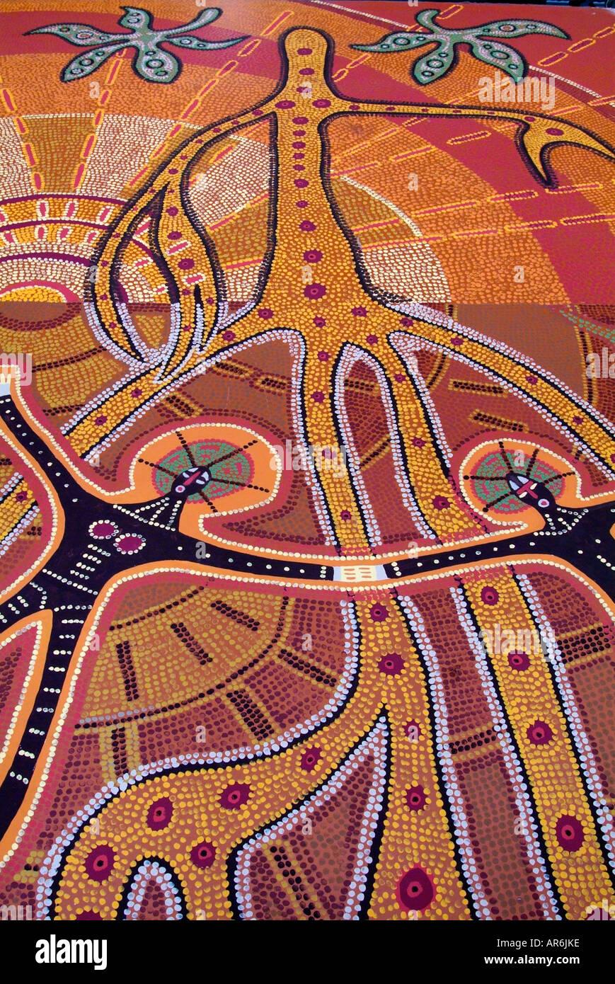 Australia Aboriginal Art Dream Time Earth Dot Paint Culture Stock