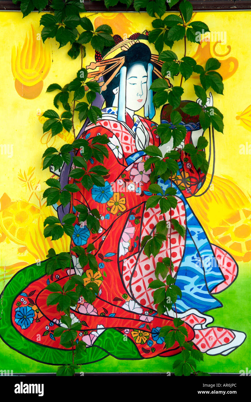 Geisha Japan Japanese Wall Painting Kimono Plant Growing Over Reveal