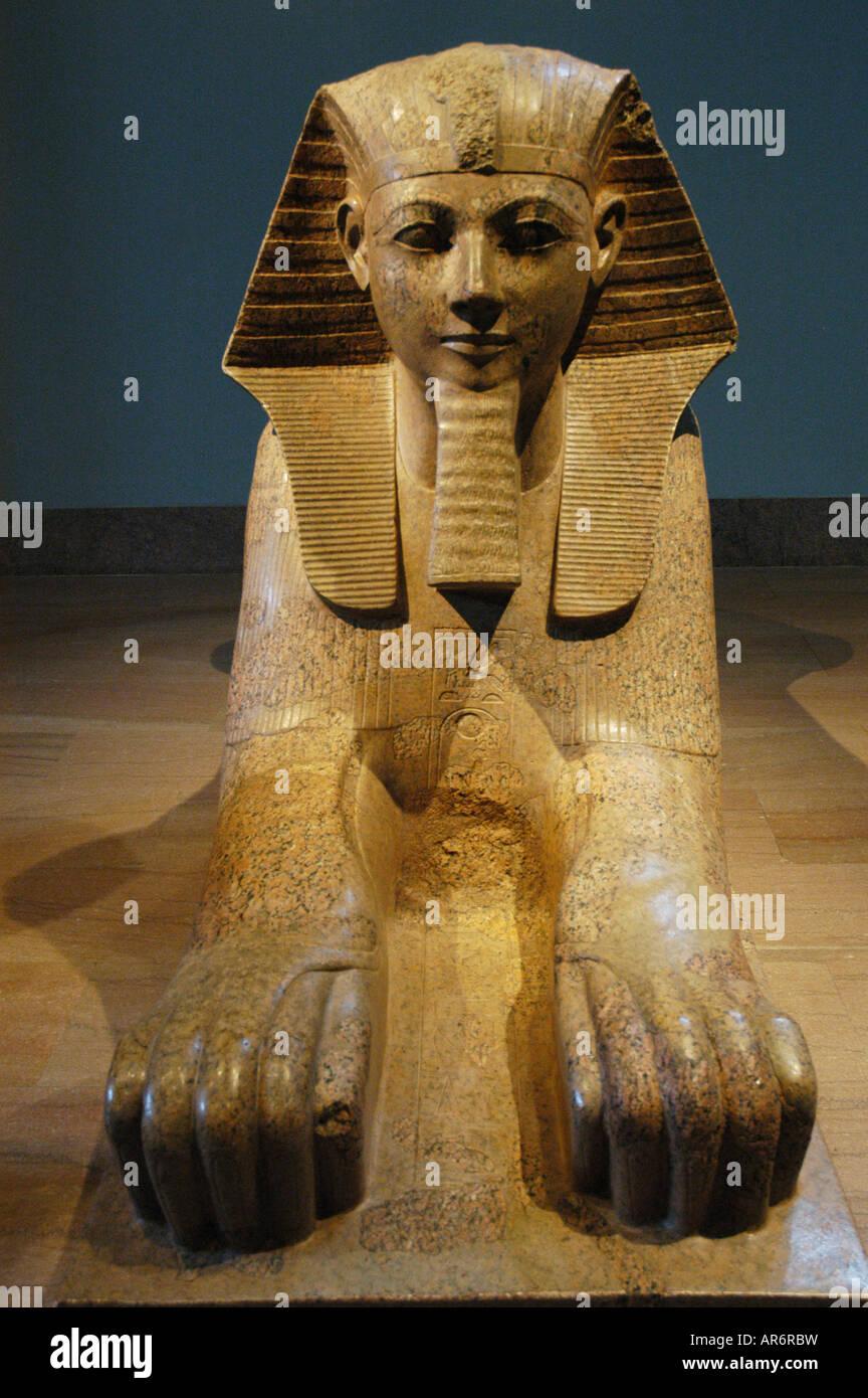 Sphinx of Hatshepsut Dynasty 18 Metropolitan Museum New York USA - Stock Image