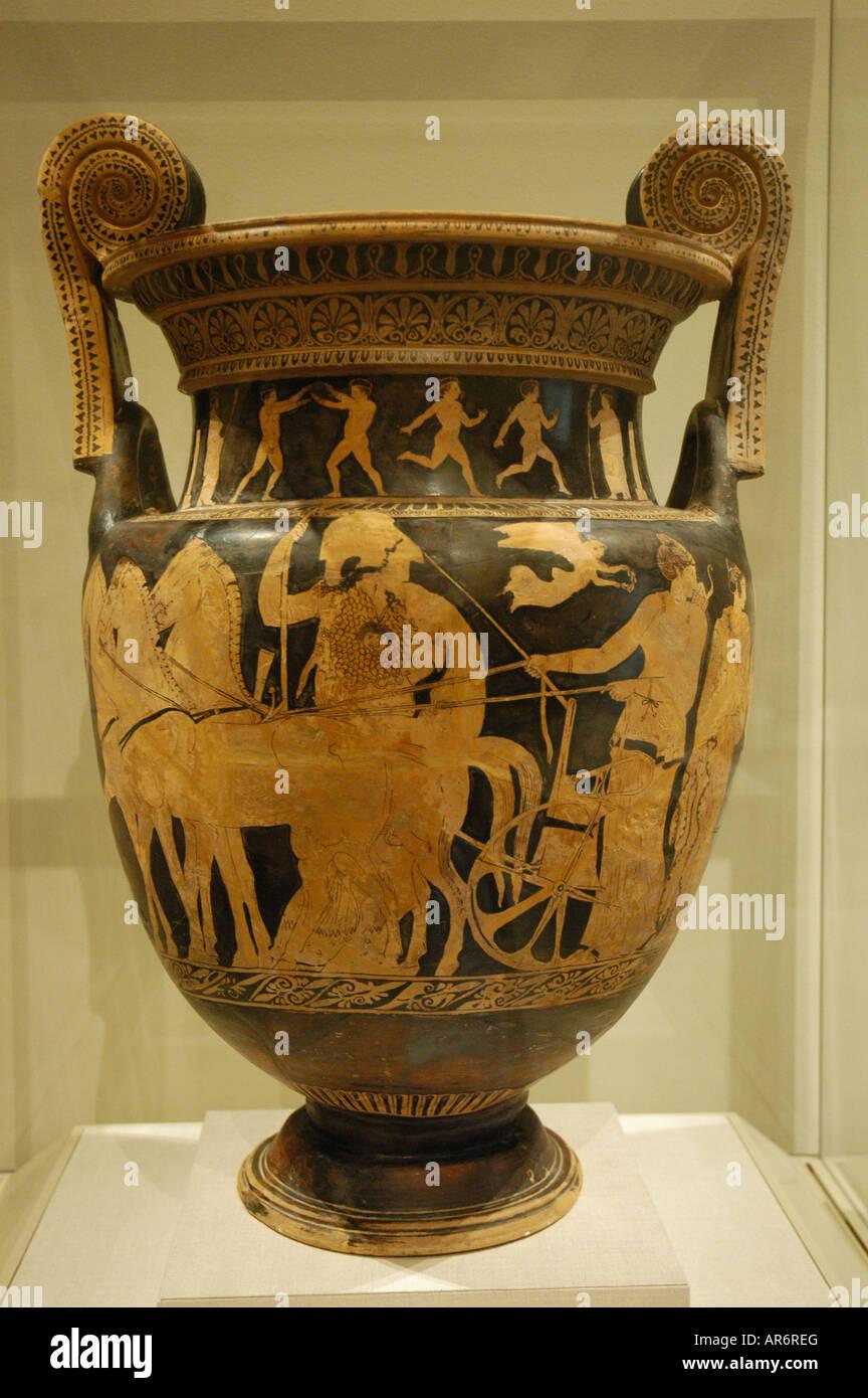 Terracotta volute krater Greek Attic 420 b c Metropolitan Museum New York USA - Stock Image
