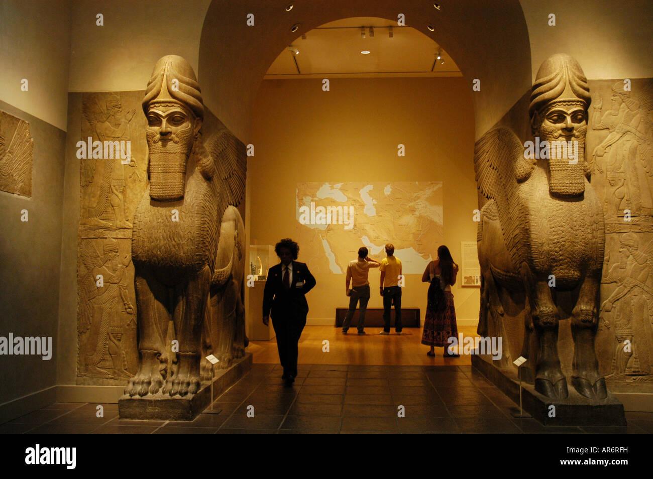 Assyrian reliefs Metropolitan Museum New York USA - Stock Image