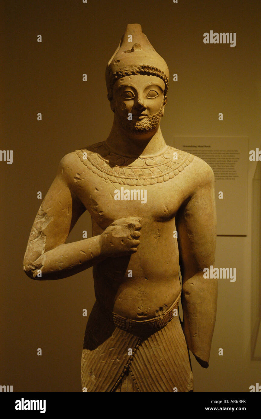 Male figure in Egupitian dress Archaic cypriot art Metropolitan Museum New York USA - Stock Image
