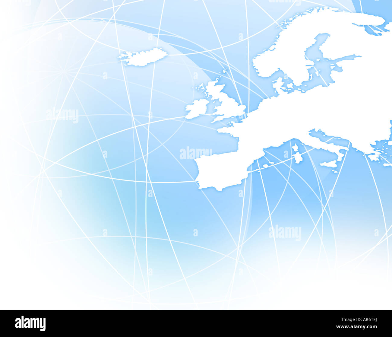 Map of Europe digital illustration - Stock Image
