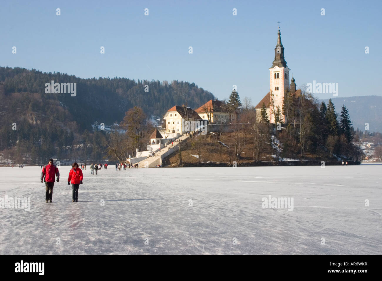 Lake Bled Frozen In Winter Slovenia Stock Photo 15958330