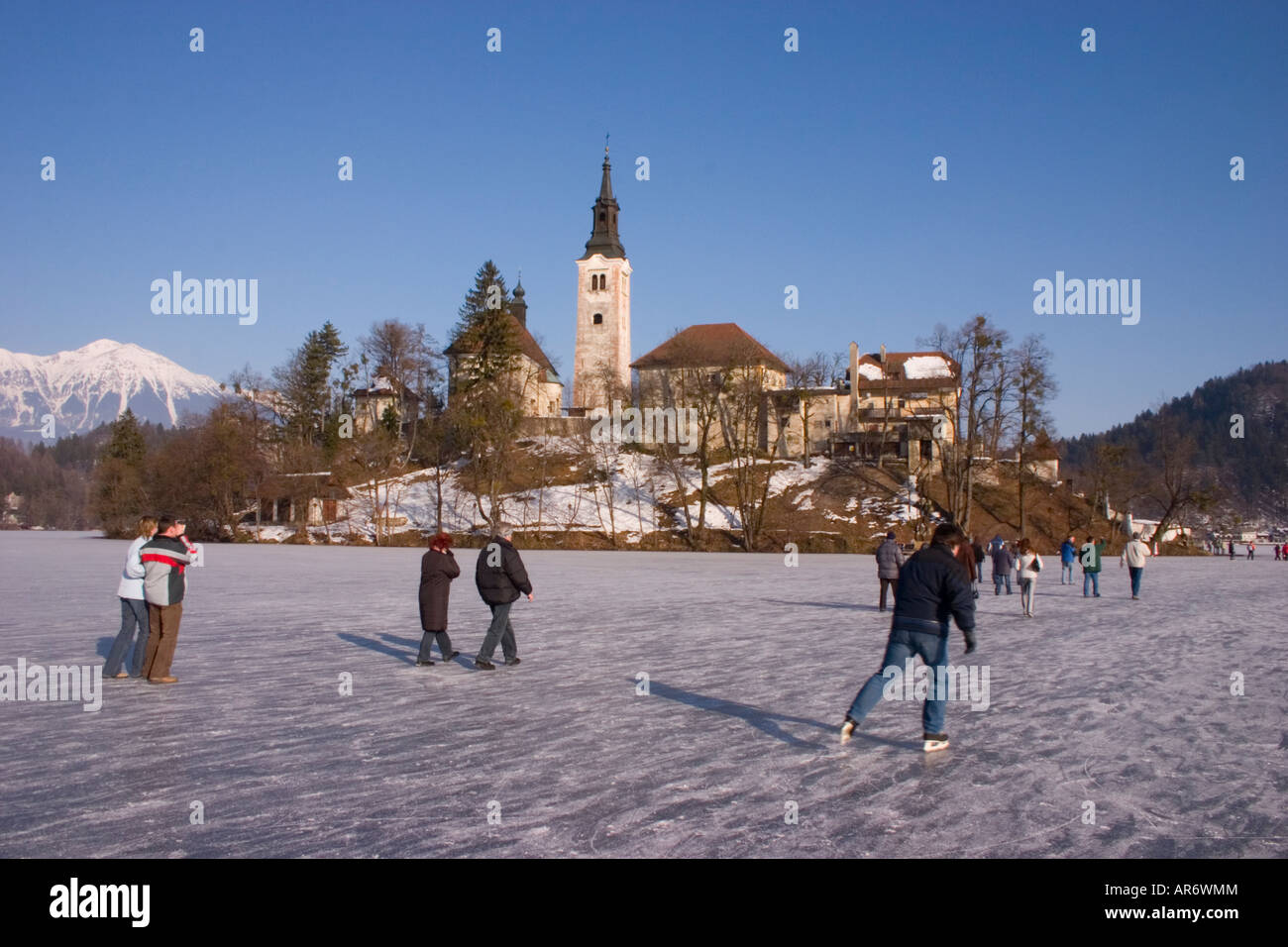 Lake Bled Frozen In Winter Slovenia Stock Photo 15958339
