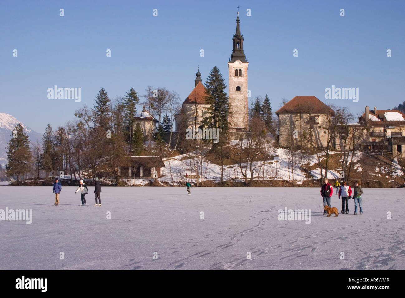 Lake Bled Frozen In Winter Slovenia Stock Photo 15958342