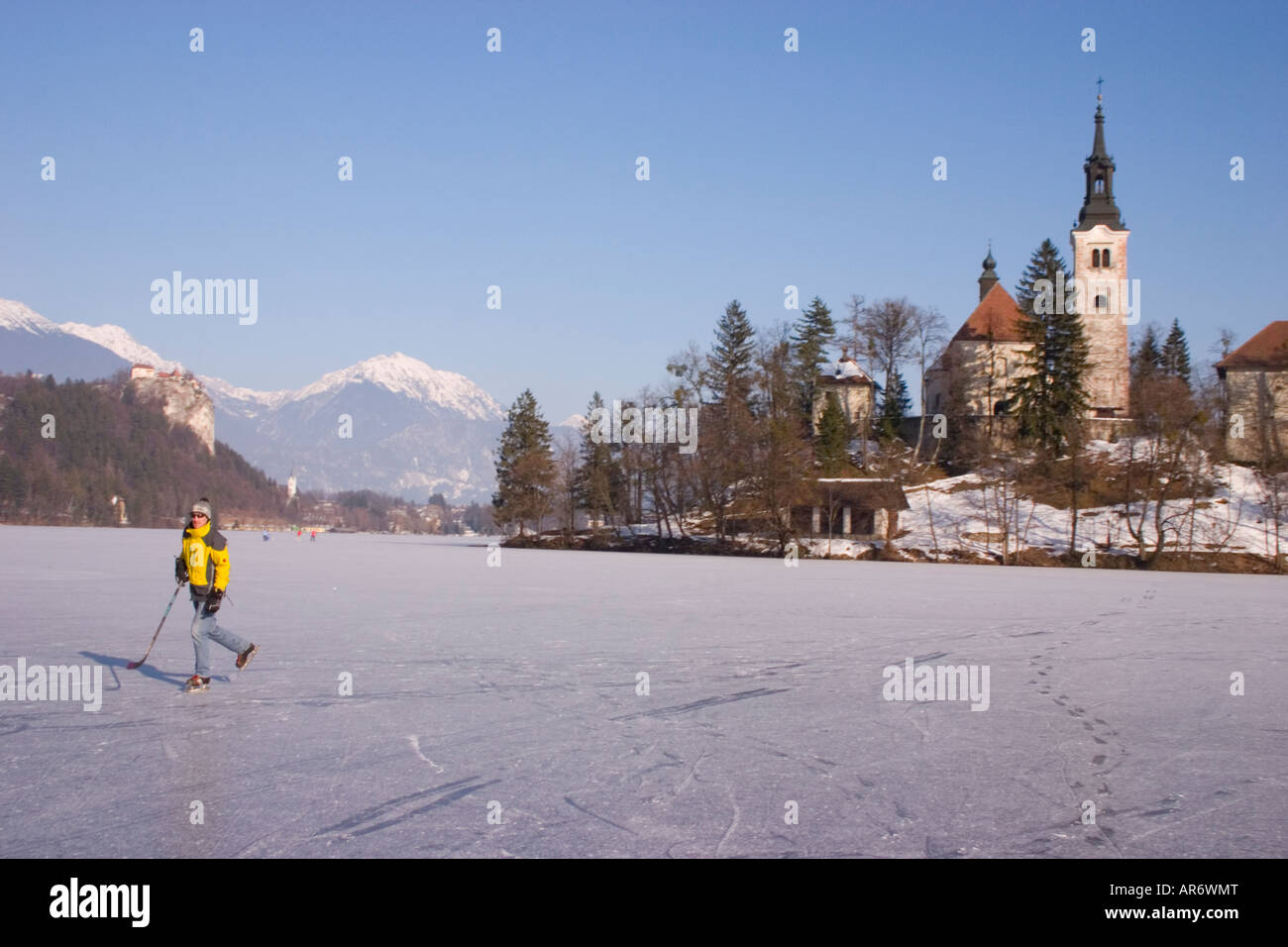 Lake Bled Frozen In Winter Slovenia Stock Photo 15958343